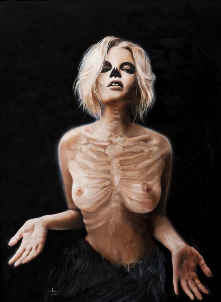 Skeleton paintings by Olivia Charmaine