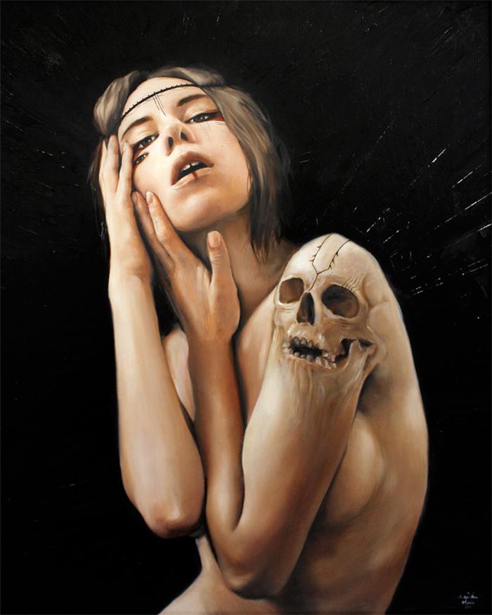 Skull painting by Olivia Charmaine