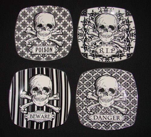 Skulls Crossbones Porcelain Plates