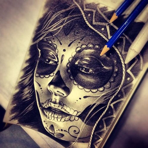 Sugar skull drawing by Randy Engelhard