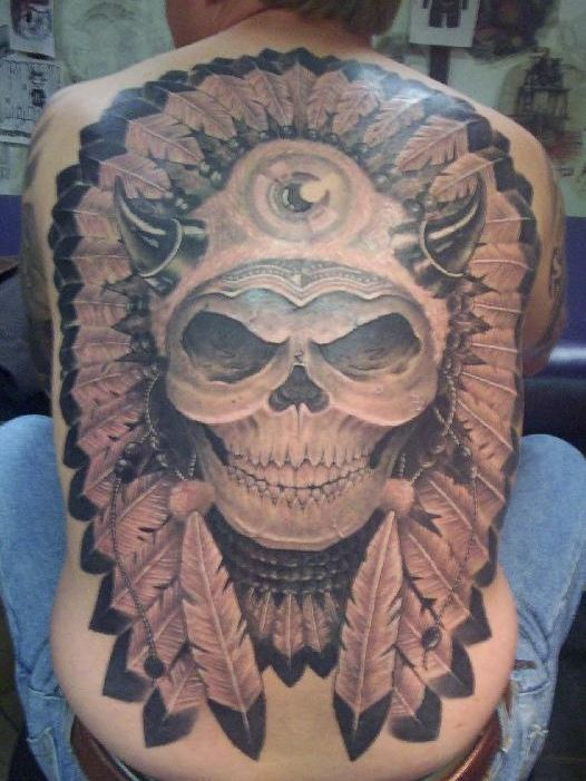 american indian skull tattoo