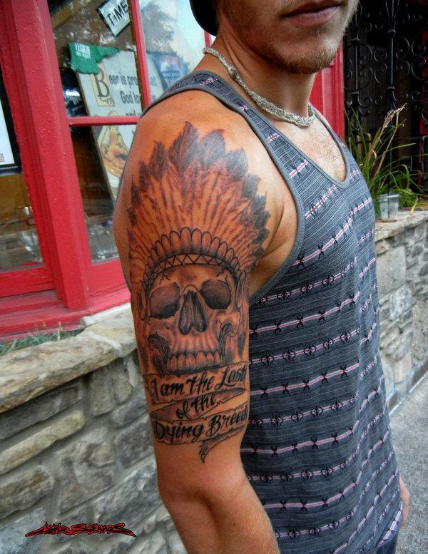chief native american skull tattoo by muddygreen