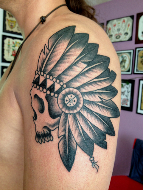 indian skull tattoo 3