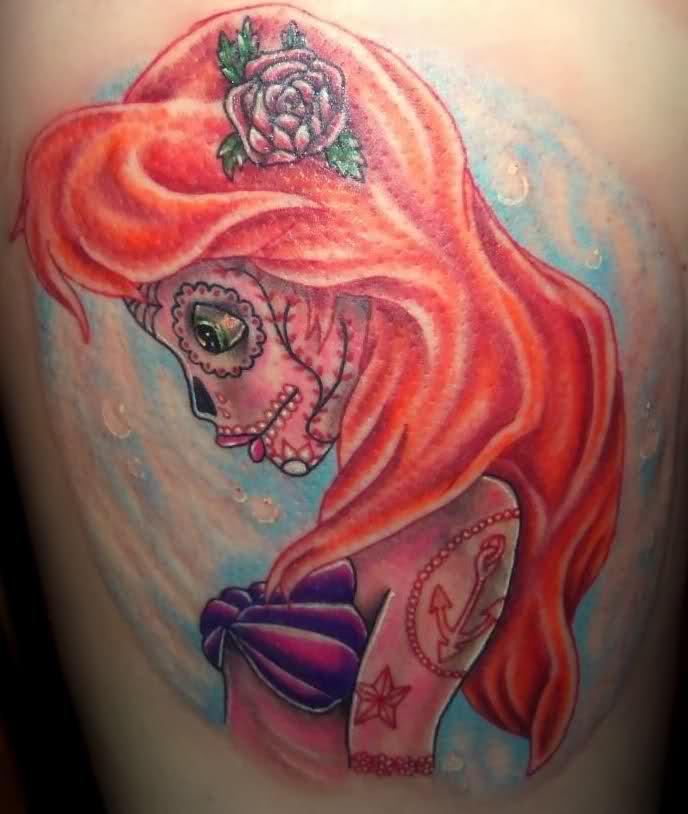Little Mermaid skull tattoo