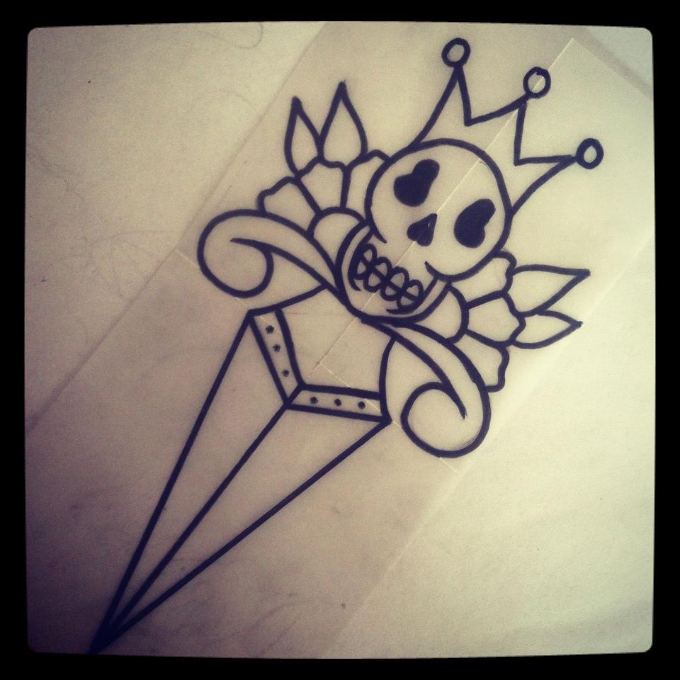 skull tattoo flash designs 2