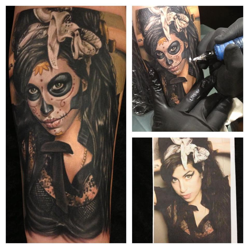 Amy Winehouse Sugar Skull Tattoo
