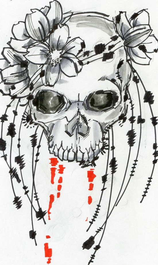 Flower Skull tattoo design