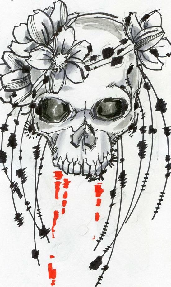 Flower Skull tattoo design