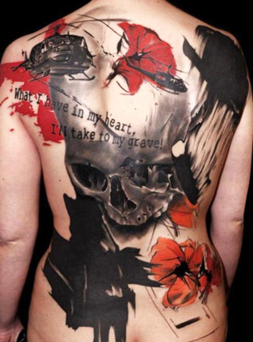 Full Back Piece Skull Tattoo Design