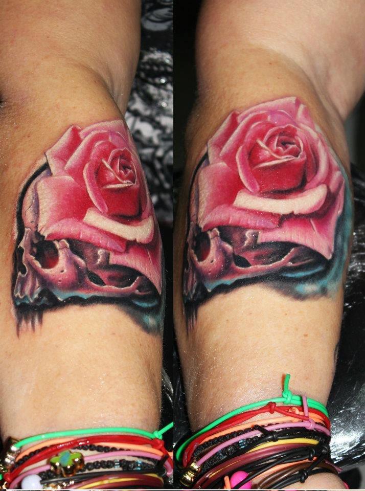 Skull and Rose tattoo by Kostas Baronis Proki