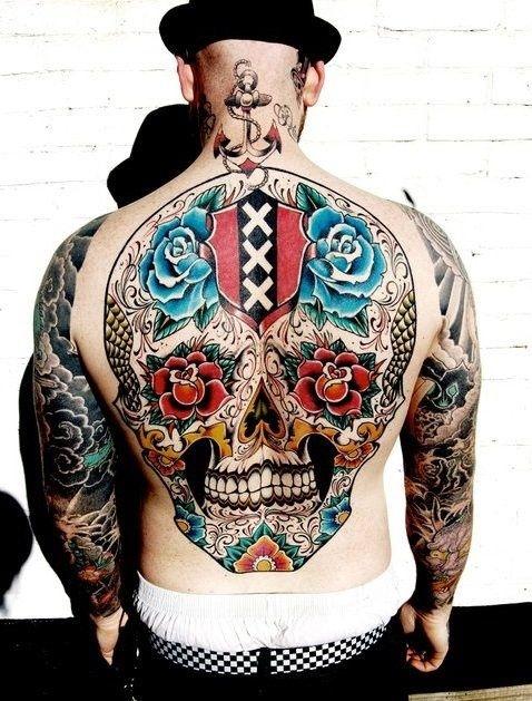 Sugar Skull Full Back Tattoos