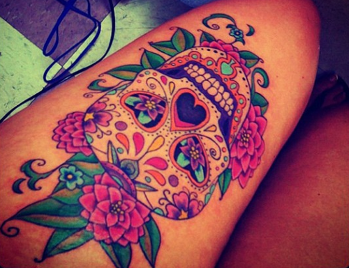 Sugar skull tattoo sexy girl