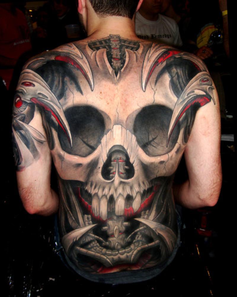 Tribal Skull back Tattoos