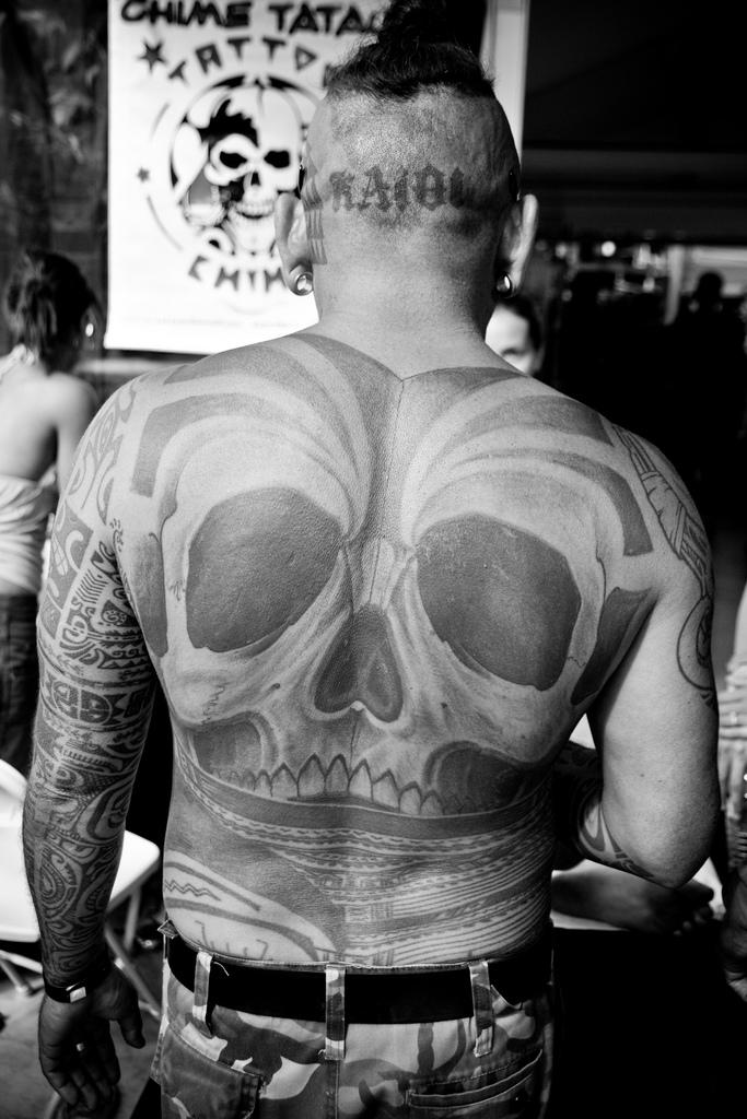 back skull tattoo