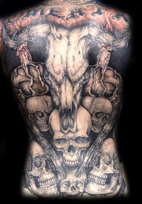 skull back piece tattoo