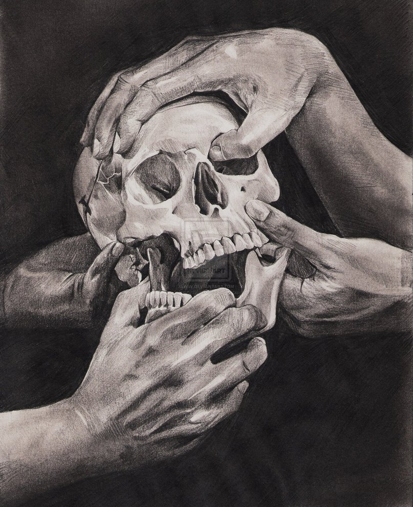 Hands and Skull
