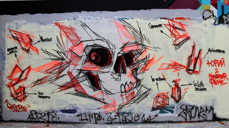 Skull graffiti by Monsieur Plume