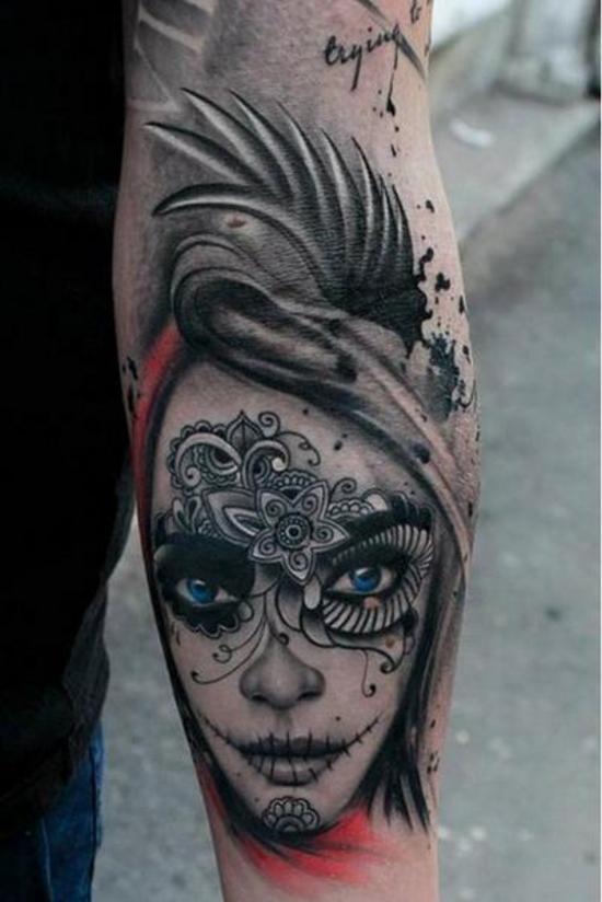 Sexy sugar skull tattoo