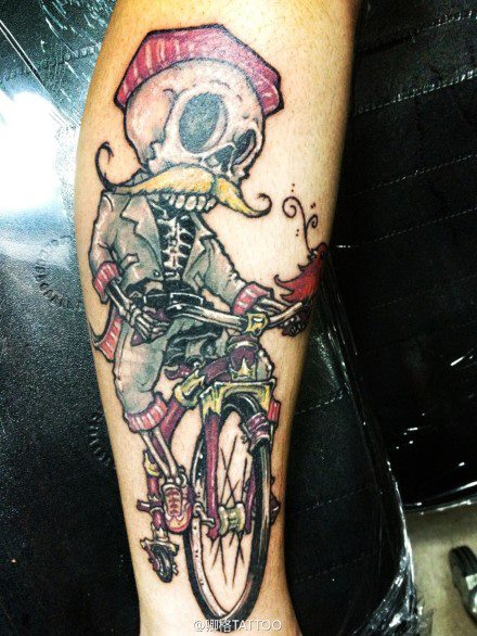 Skeleton biker tattoo