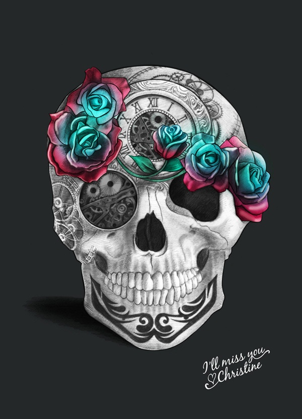Skull Illustration by Christine Calo