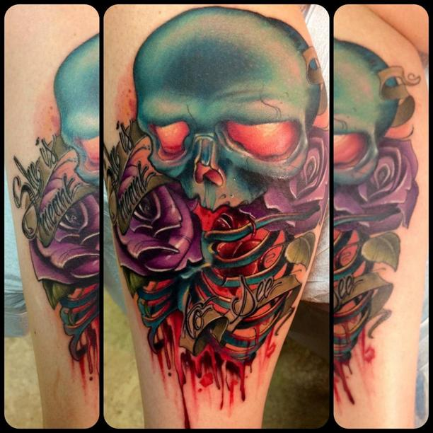 Skull tattoos by Kelly Doty 1