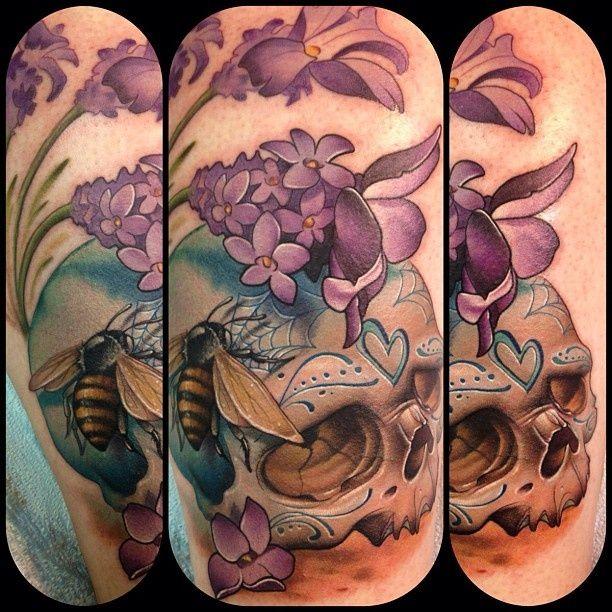 Skull tattoos by Kelly Doty