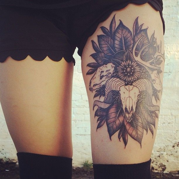 Skull thigh tattoo