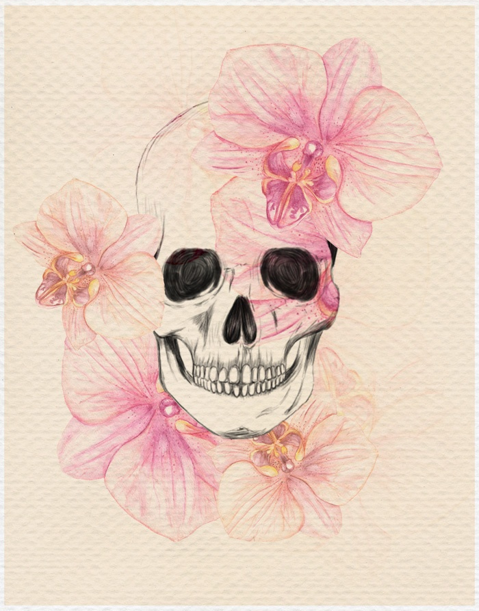 Skull with orchids