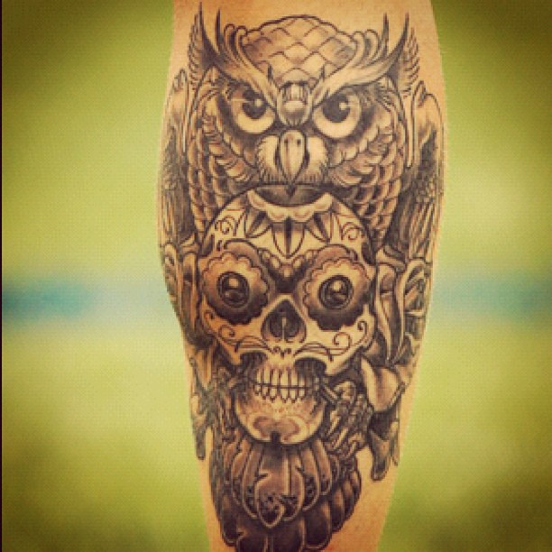 Owl and skull tattoo designs for Skull tattoos meaning