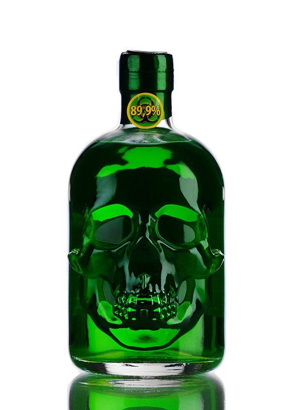Skull shaped bottle of absinthe 1