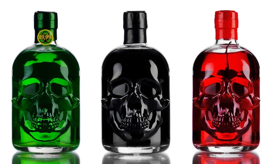 Skull shaped bottle of absinthe 3