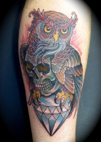 owl skull diamond tattoo