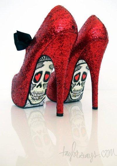 Awesome Red Sugar Skulls High Heels