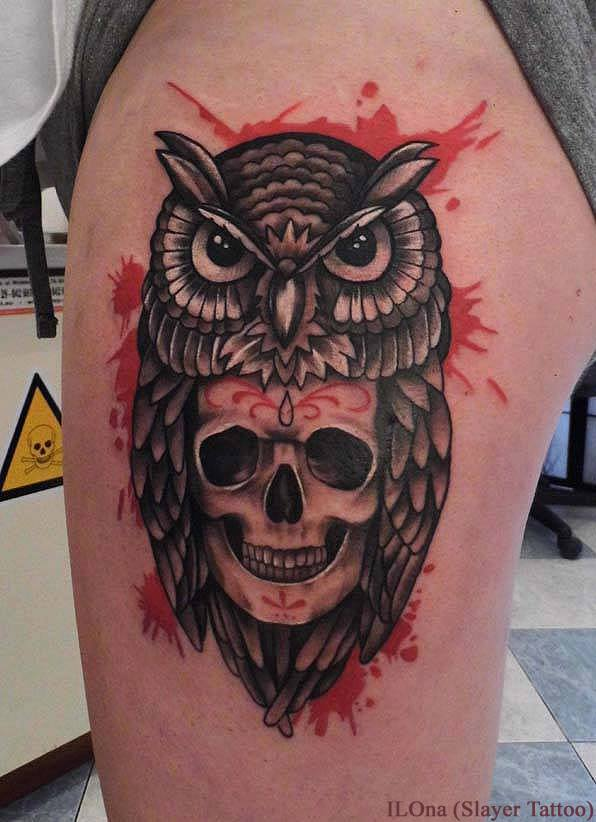 skull and owl by ILOna