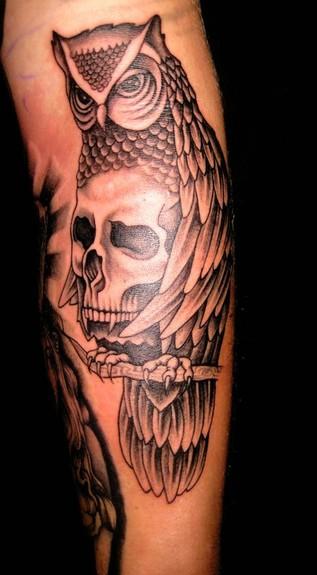 skull owl tat