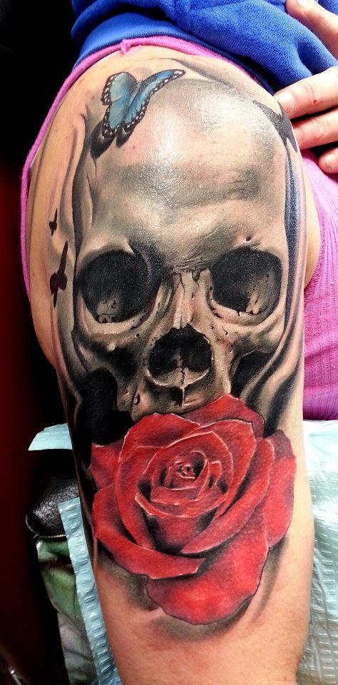 skull tattoos by Rodney Eckenberger