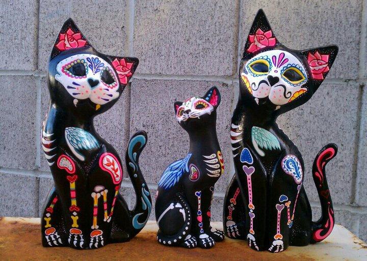 Dia De Los Muertos Wooden Cats