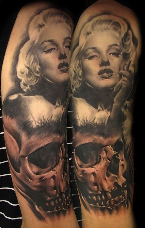 Marilyn skull tattoo