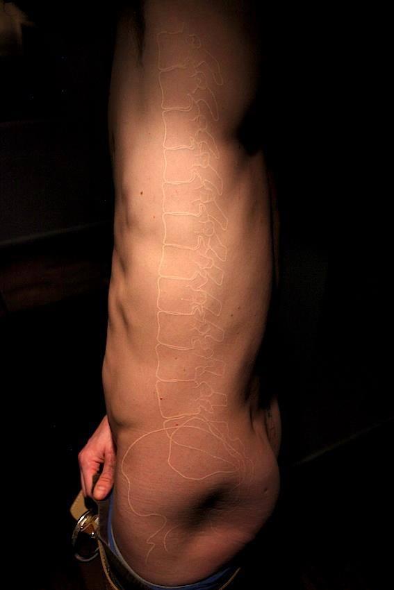 Skeleton white ink tattoo