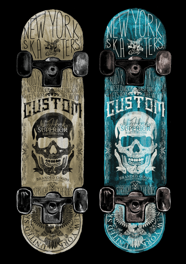 Skull skateboard illustration