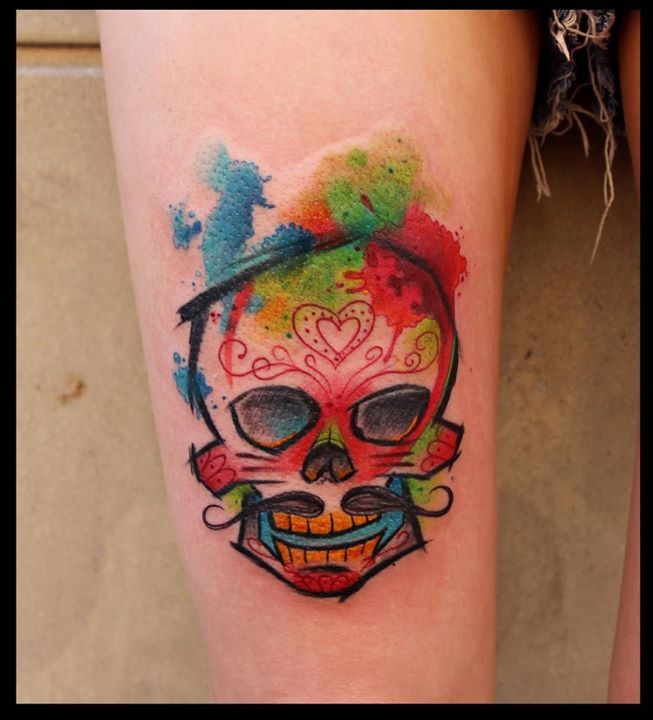 Watercolor skull tattoo by Lukasz 'Bam' Kaczmarek