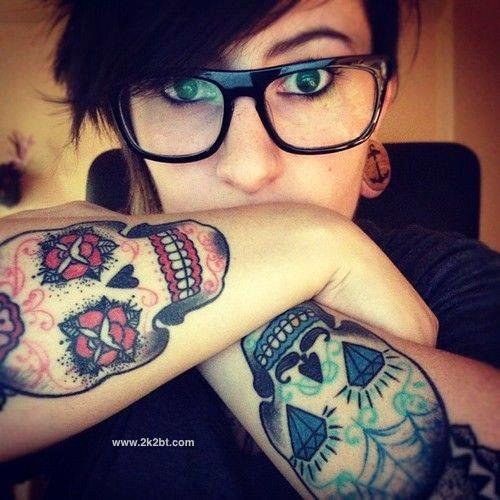 girl skull tattoos