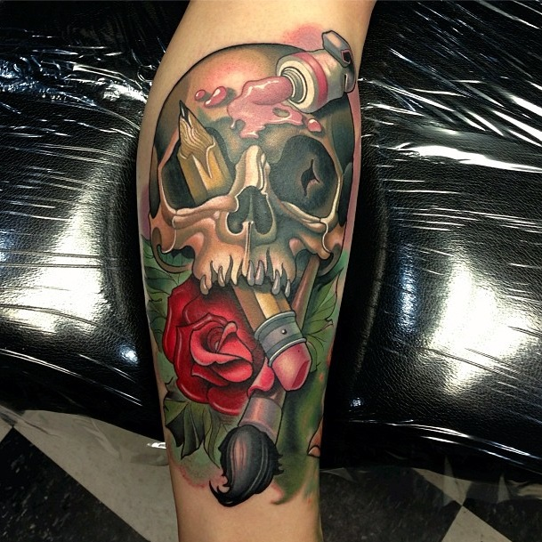 Colorful skull tattoos
