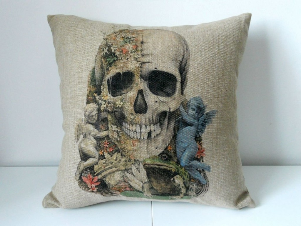 Decorative Skull Throw Pillow Case