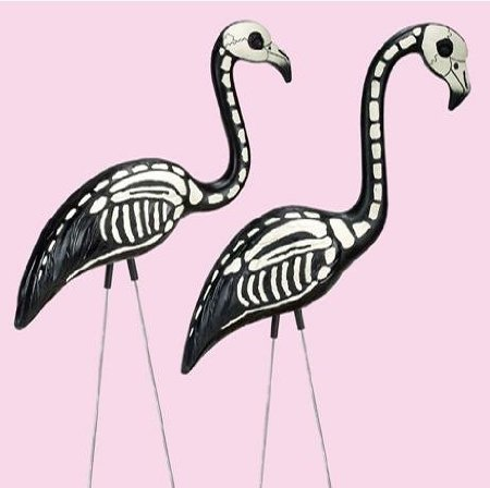 Halloween Skeleton Yard Flamingos Lawn Decor