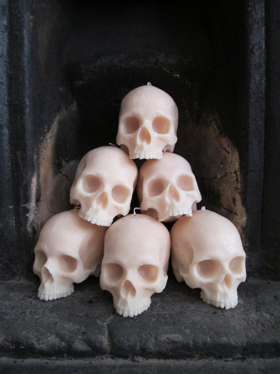 Life-size Skull Candles