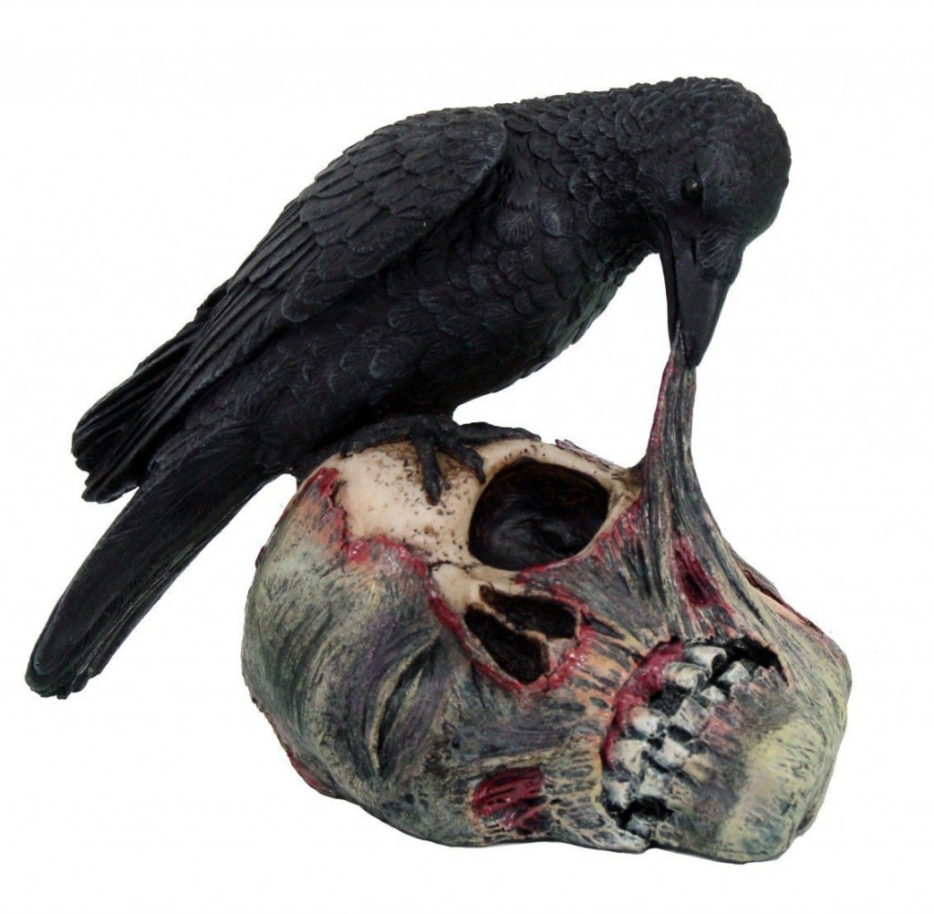 Raven on Zombie Skull Figurine