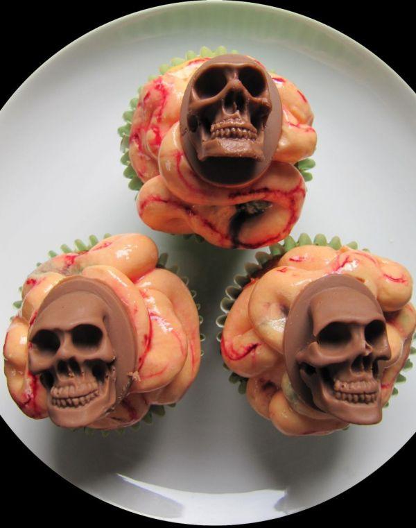 Skulls and Intestines Cupcakes