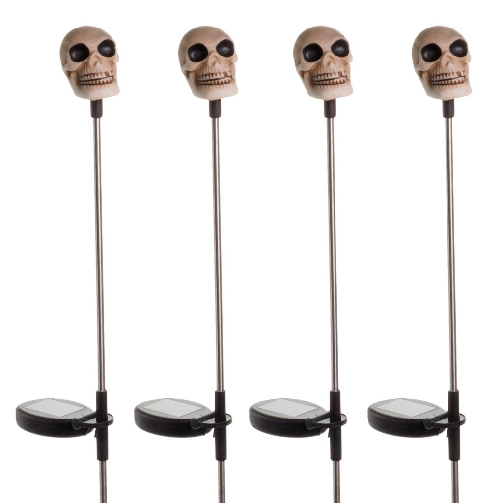 Solar Halloween Skull Garden Stake Light