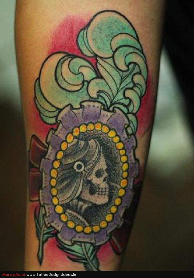 Tattoo Cameo Skull Miss Camafeu